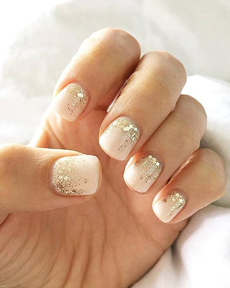 Bridal Gold Glitter Gel Nails, Glitter Top Week Bridal