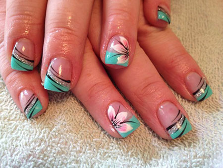 Cute French Flower Nails, Cute French Flowers Magazine