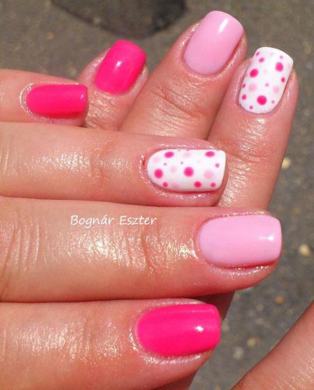 Pink Dots Nail Art, Pink Dots White Manicure