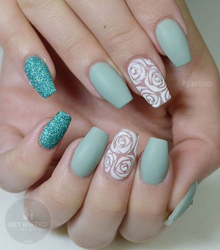 Floral Shape Nails, Rose Manicure Best Ideas