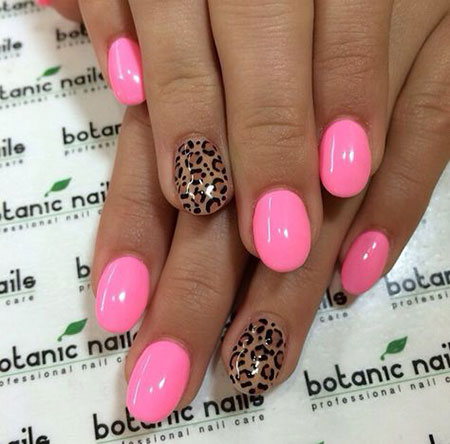 Pink Short Rounded Nails, Pink Summer Botanic Short