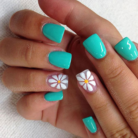 Floral Summer Nail Ideas, Heart Summer Teal Flowers