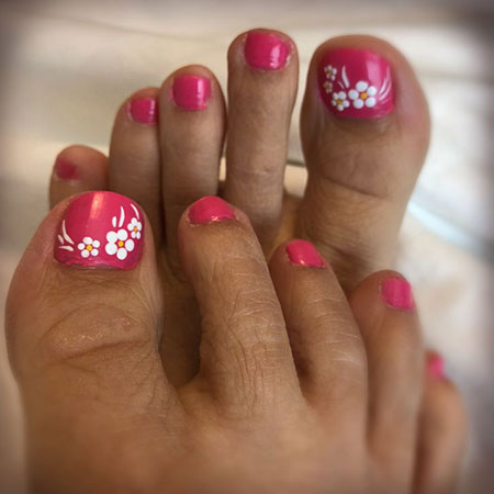 Easy Floral Design for Toes, Toe Easy Flower Summer