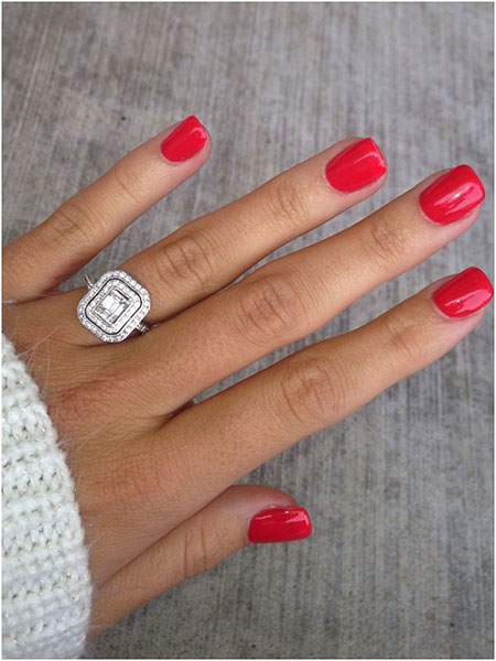 Short Square Nails, Red Ring Beach Shellac