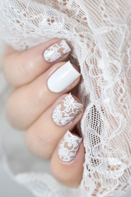 Lace Nail Art for Wedding, Wedding Day 2017 Most