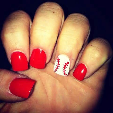 One Finger Baseball Nail Art, Baseball Cute Easy Top