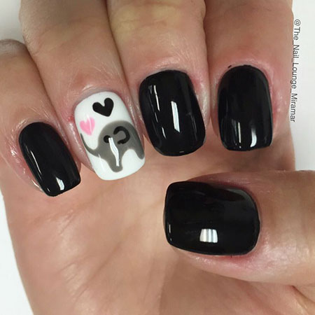 Elephant Nail Design, Animal Polish Ideas Black