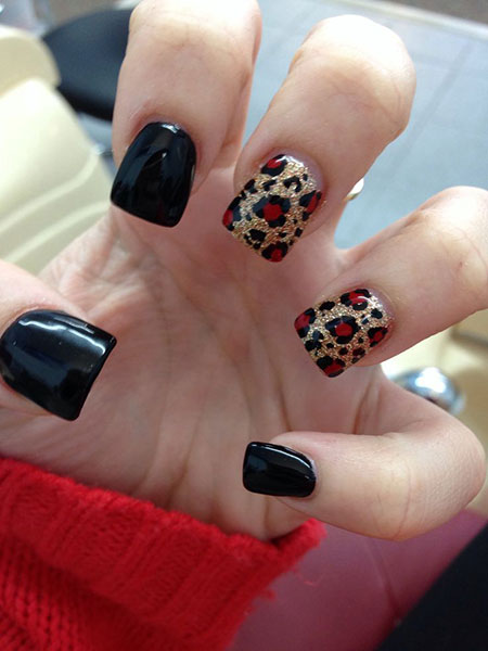 Black Nails with Cheetah Color, Cheetah Red Black Best