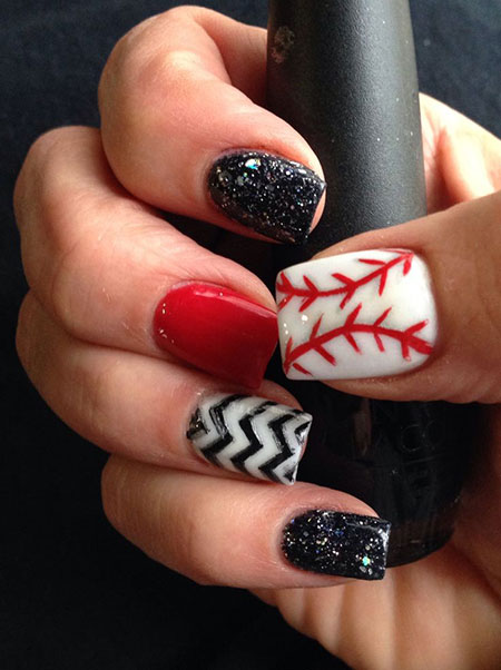 Stylish Baseball Nail Design, Baseball Jamberry Christmas