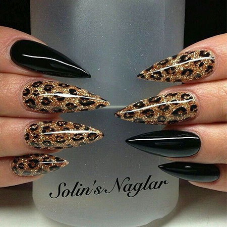 Long Black Stiletto Nails with Leopard Print, 2017 Love Cool Cute