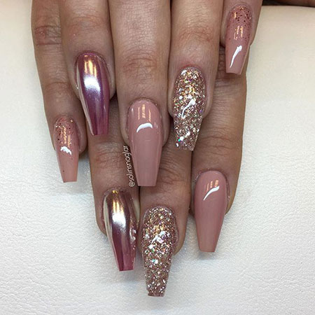 5 Chrome And Glitter Acrylic Nails 127