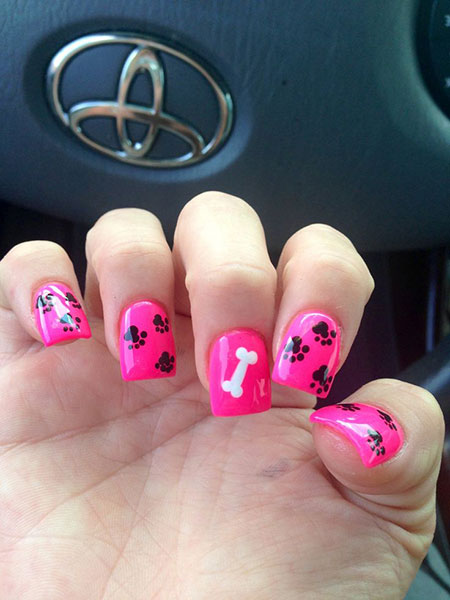 Cute Dog Nail Design, Animal Dog Pink