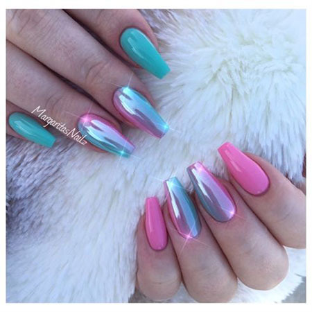 Coffin Chrome Nails, Pink Coffin Mint Green