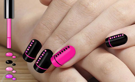 Simple Sparkle Nails, Neon Pink Black Ideas