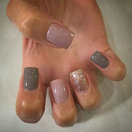 8 Grey And Pink Shellac Nails 201 Nail Art Designs 2017