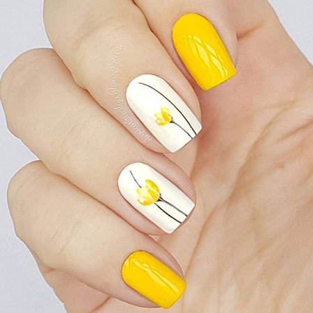Yellow Color Summer Manicure