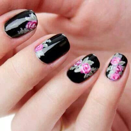 Rose Flower Black Floral