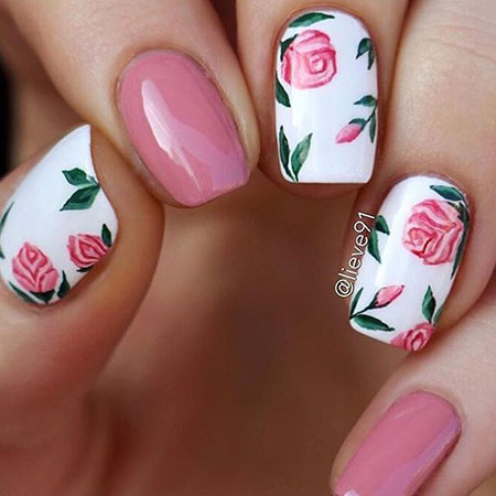 9 white nails with pink flowers 260 nail art designs 2017 9 white nails with pink flowers 260 mightylinksfo