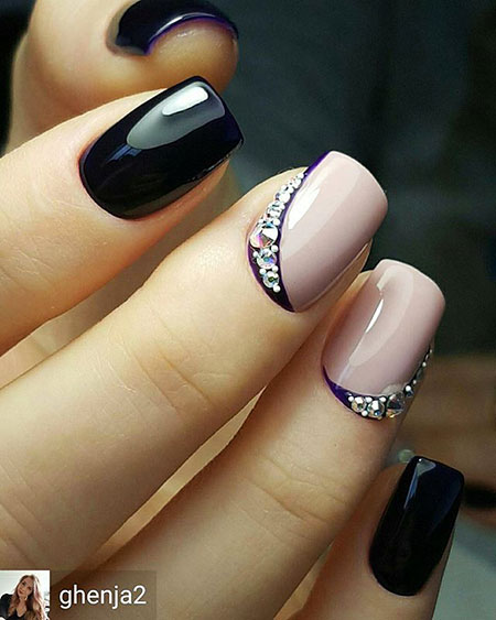 Elegant Nail Design, Nail Nude Black Designs