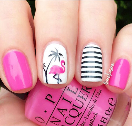 Flamingo Nail, Nail Designs Art Nails