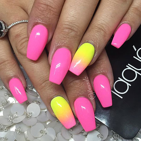 Pink and Yellow Nails, Nails Nail Little Summer
