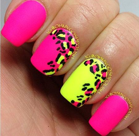 Nail Pink Yellow Neon