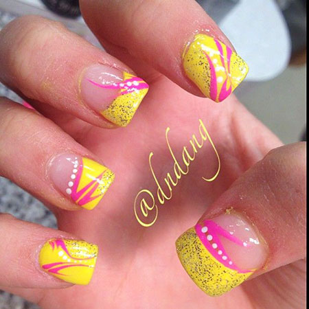 33 Pink And Yellow Nails