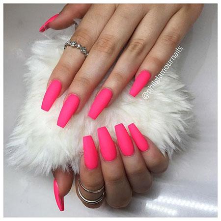 Nails Pink Acrylic Hot