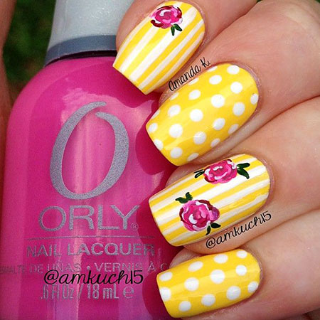 Dots and Flowers, Nails Nail Yellow Designs