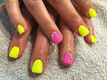 Nail Neon Pink Yellow