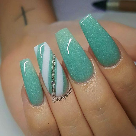 Nails Coffin Nail Teal