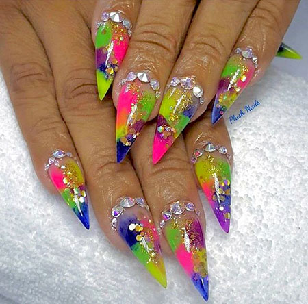 Nails Stiletto Nail Neon