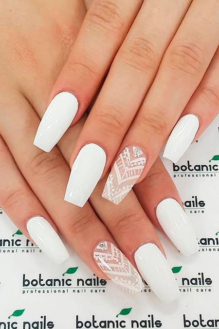 22 White Acrylic Nails With Design 194 Nail Art Designs 2017
