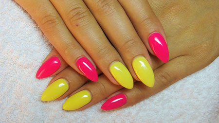 Nails Pink Yellow Manicure