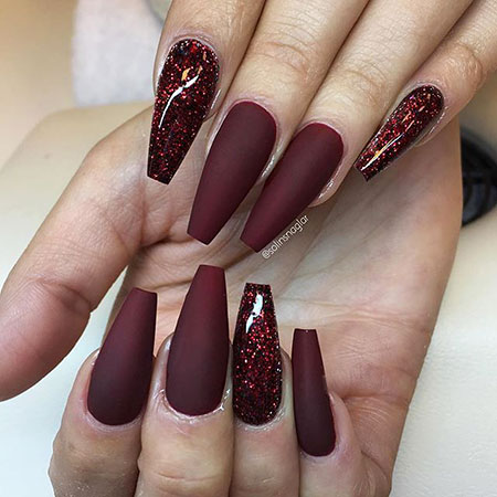 23 Red Glitter Ombre Acrylic Coffin 34 Nail Art Designs 2017