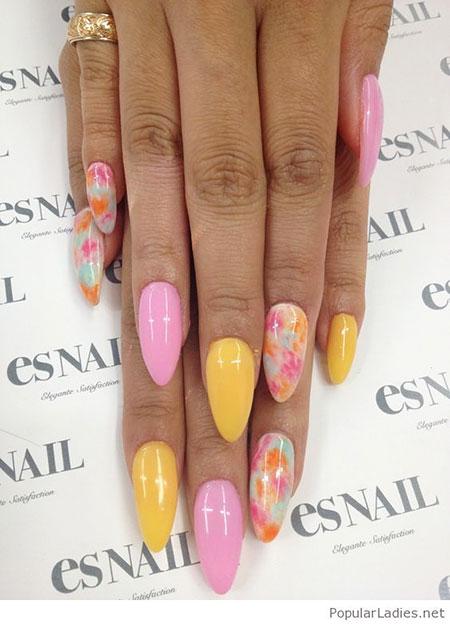 26 Yellow And Pink Nails 276