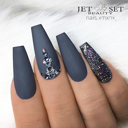 29 Grey Coffin Nails With Glitter 389 Nail Art Designs 2017
