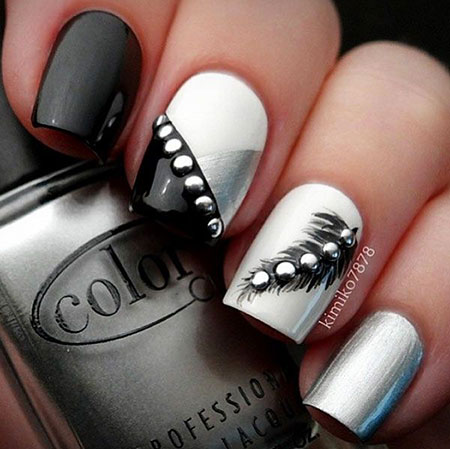 Black and Silver, Nail Art Nails Ideas
