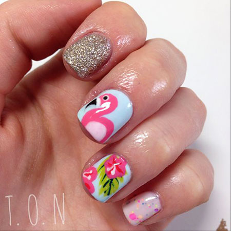 Flamingo Nail Design, Nail Nails Tropical Manicure