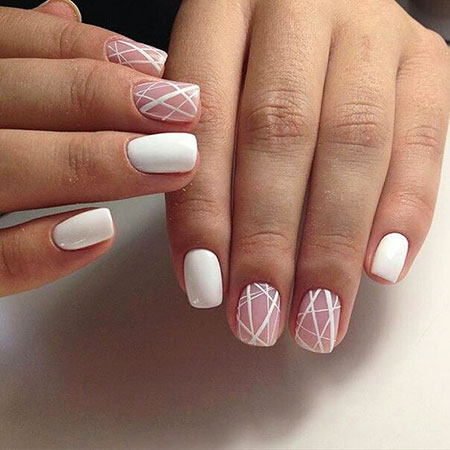 Simple and Geometrical Nails, Nail Manicure Nails Line - 25 Line Nail Designs