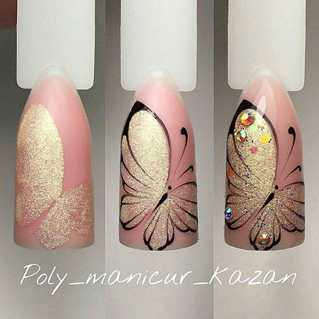 Butterfly Art with Peach Color, Manicure Nail Nails Butterfly