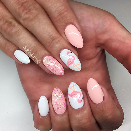 Nude Pink Colored, Nail Nails Manicure Glitter
