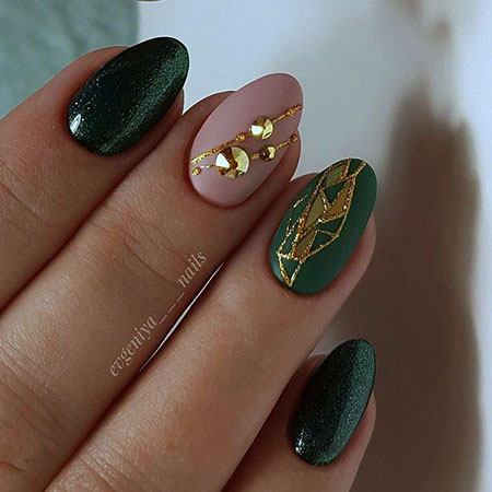 Dark Green and Nude Pink, Nail Manicure Nails Pro