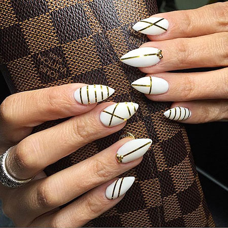 White Base Black Lines, Nail Nails Line Manicure