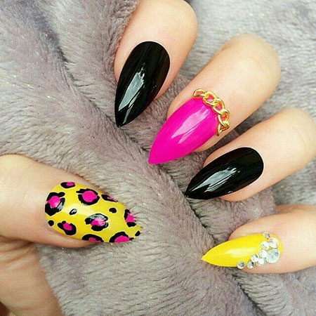 Pink Yellow and Black Nails, Nail Nails Pink Yellow