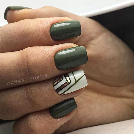 Chic Square Nails, Nail Manicure Nails Green