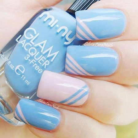 Nail Simple Blue Cute