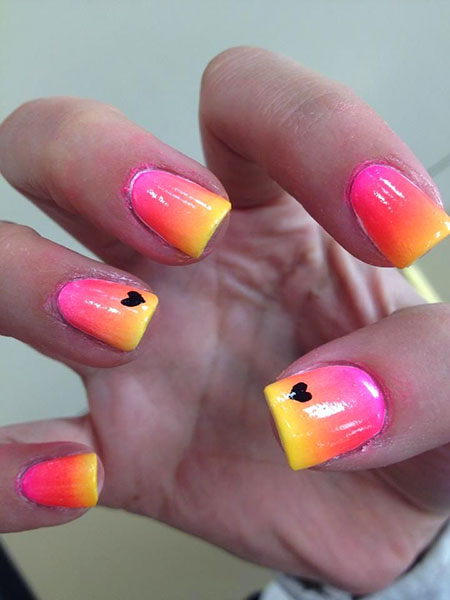 Nail Art Pink Yellow