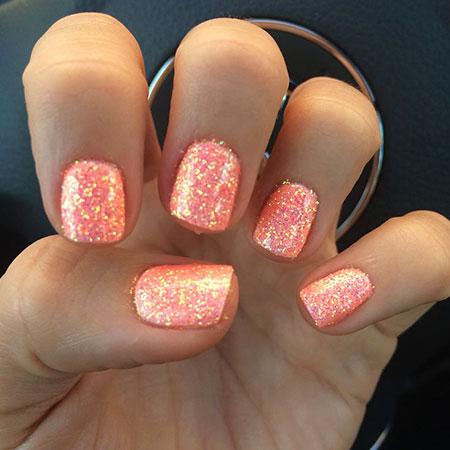 Coral Nail Design, Glitter Nail Coral Spring