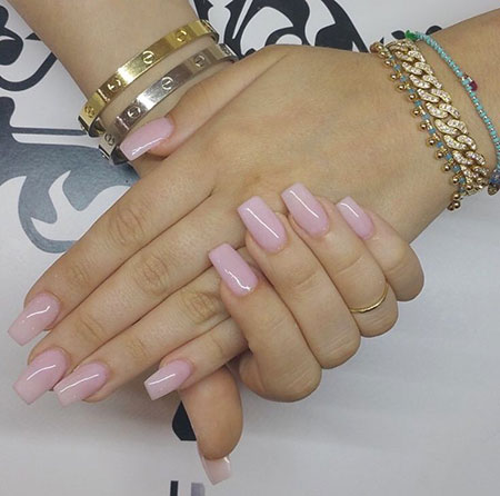 Natural Pink Nails, Nails Acrylic Nail Short
